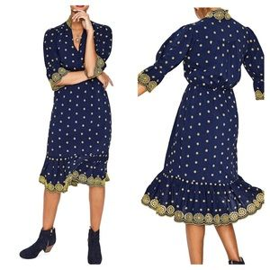 Boden Navy Yellow Embroidered Daisy Eyelet Dress